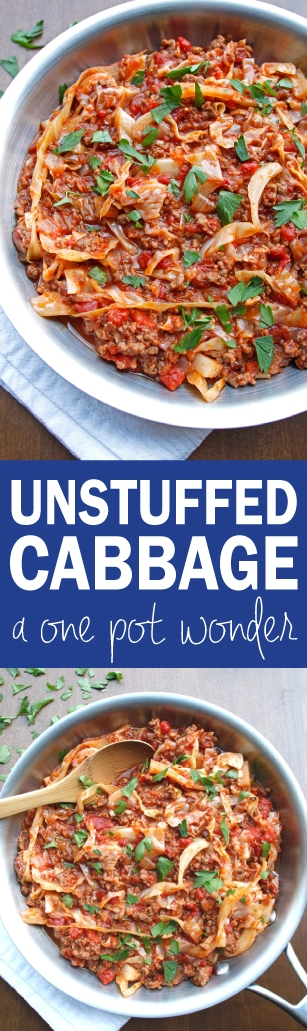 Unstuffed Cabbage- All the rich and hearty flavor of stuffed cabbage without all the work! Transforms the classic recipe into an EASY and HEALTHY one pot wonder. I could just swim in that luscious tomato sauce. ♡ passthechallah.com