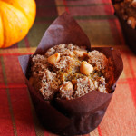 Pumpkin Muffins with Cinnamon Butterscotch Streusel- SUPER MOIST pumpkin muffins with an addictive cinnamon butterscotch streusel! And they're EASY! The perfect recipe for breakfast on Thanksgiving. ♡ passthechallah.com