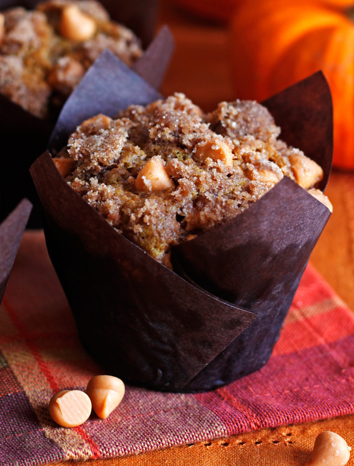 Pumpkin Muffins with Cinnamon Butterscotch Streusel