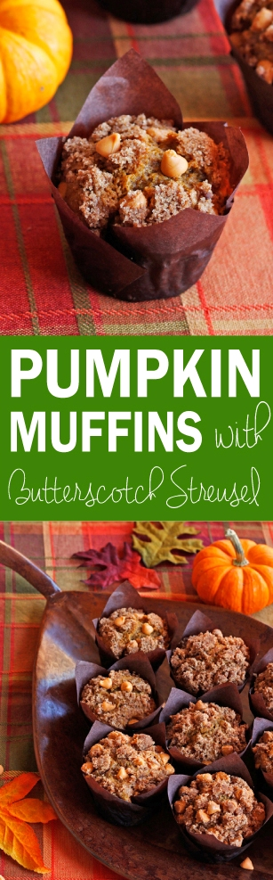 Pumpkin Muffins with Cinnamon Butterscotch Streusel- SUPER MOIST pumpkin muffins with an addictive cinnamon butterscotch streusel! And they're EASY! Perfect for breakfast on Thanksgiving. ♡ passthechallah.com