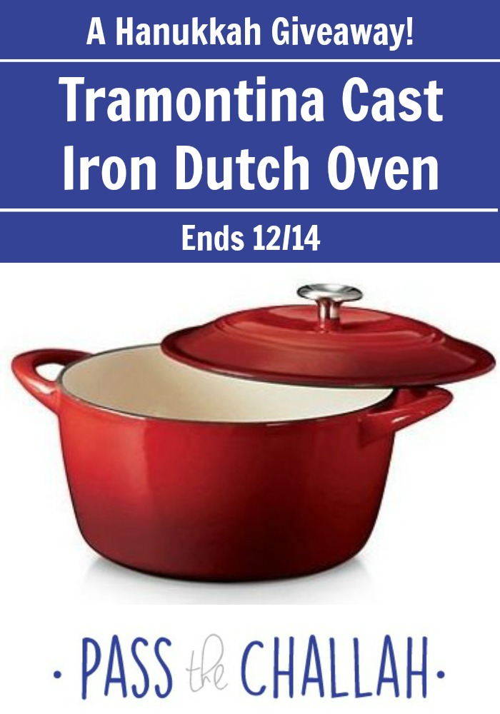 A Dutch Oven Giveaway! Several ways to enter to win a new Tramontina Cast Iron Dutch Oven. Giveaway ends Monday, Dec. 14th. Hurry over to passthechallah.com to enter!
