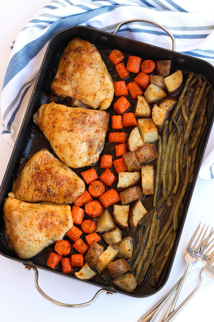 A classic roasted chicken thighs recipe with a stunning presentation. Made with just chicken, vegetables, potatoes and spices. The best (and easiest) one pan meal out there! passthechallah.com