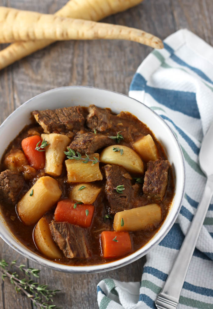 Beef Stew with Parnsips- A classic beef stew recipe, made even better with parsnips! It's easy, comforting, and the sweet parsnips compliment the hearty beef perfectly. passthechallah.com