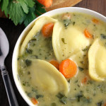 Creamy Ravioli Soup- A thick and creamy soup full of cheesy ravioli. Ravioli soup is easy, simple, and a recipe your whole family is guaranteed to love. passthechallah.com