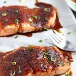 Roasted Salmon with Spiced Brown Sugar- An incredibly easy and insanely flavorful roasted salmon recipe. Just brown sugar, chili powder, salmon, and my secret ingredient for perfectly moist salmon. passthechallah.com