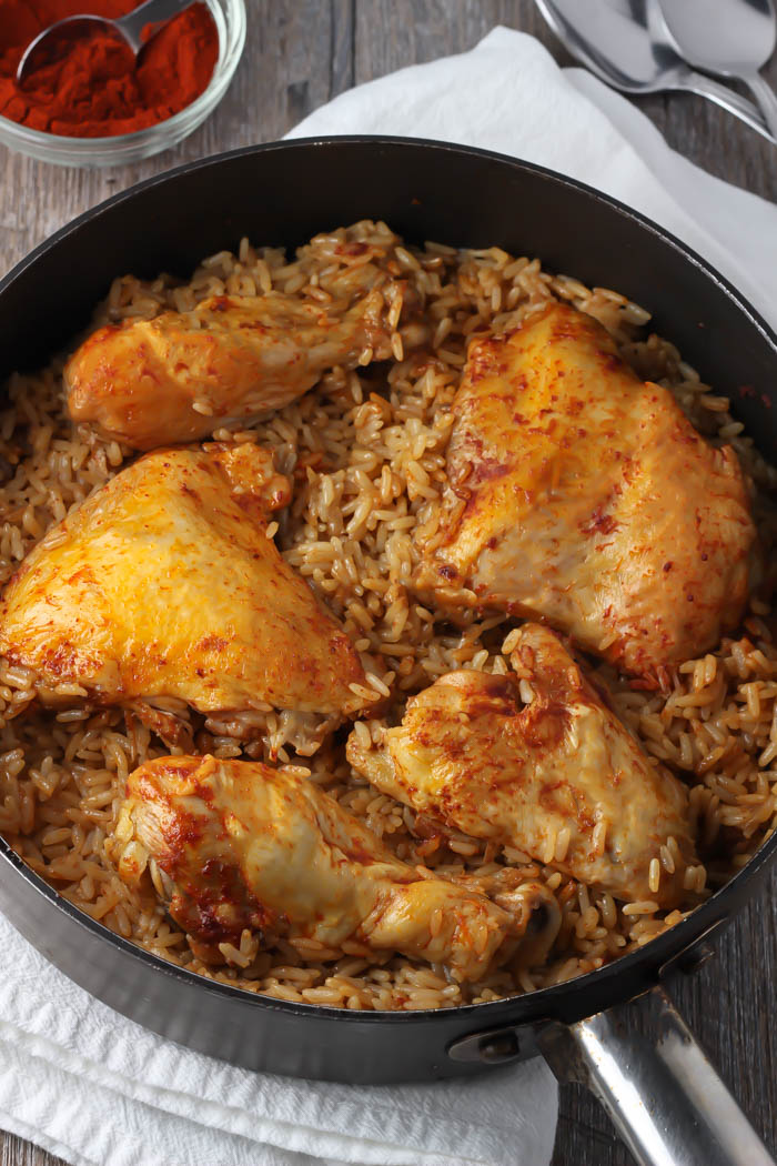 Baked Chicken and Rice Recipe Instead of cooking the rice separately, combine uncooked rice with canned tomatoes, chicken both and orange juice, then bake it along with the chicken in a casserole dish. It's a perfect solution for getting the chicken and the rice done at the same time.