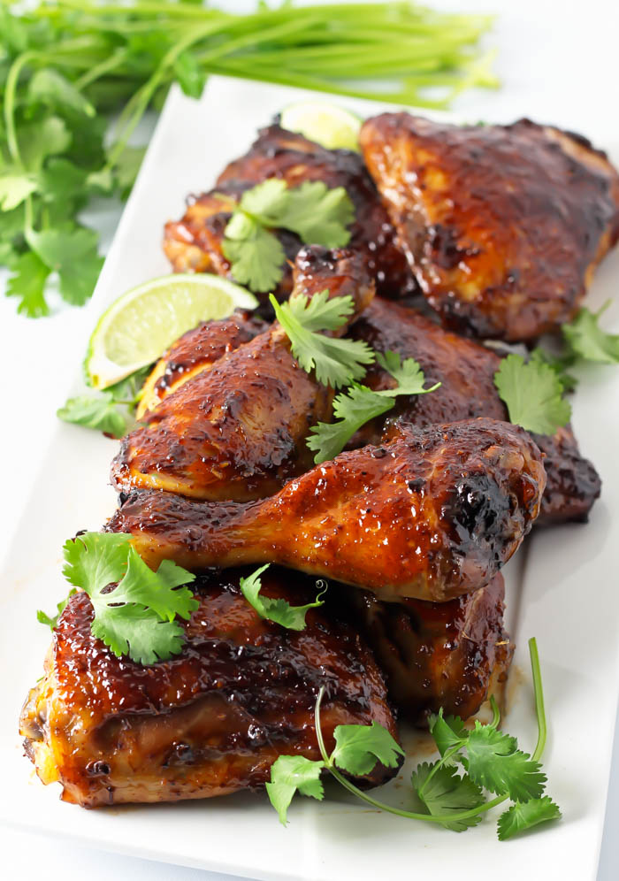 Sweet and Spicy Chicken Marinade- This sweet and spicy chicken marinade is so easy and bursting with flavor! Chipotles, brown sugar, whisky, garlic, BBQ sauce, and lime are a perfect combo. passthechallah.com